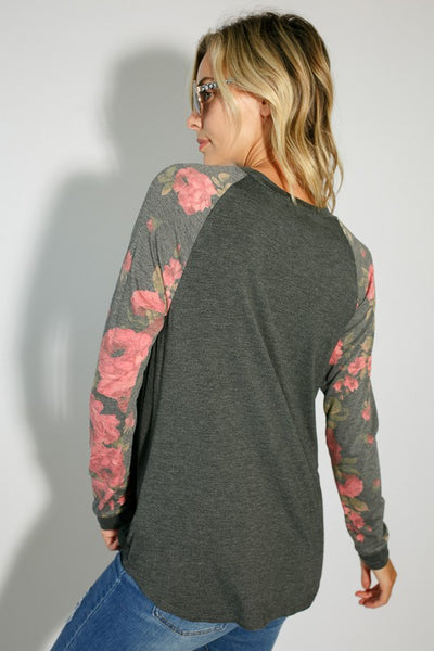 Floral baseball style long sleeve tee - the Isabelle