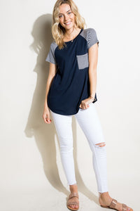 Stripe sleeve top in Navy - the Mindy