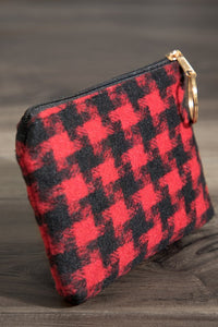Red Houndstooth Coin & Card pouch