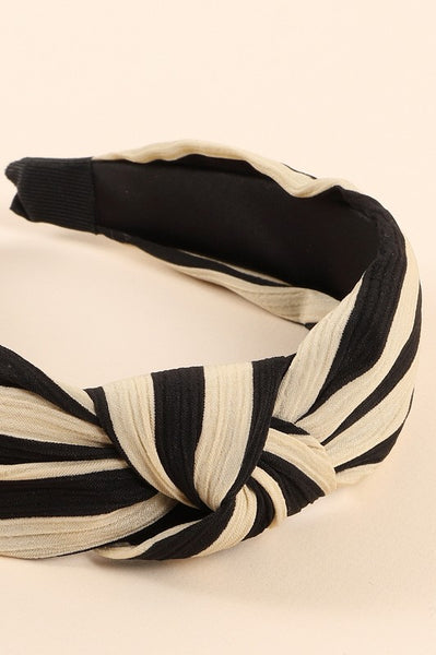 Stripe top knot headband