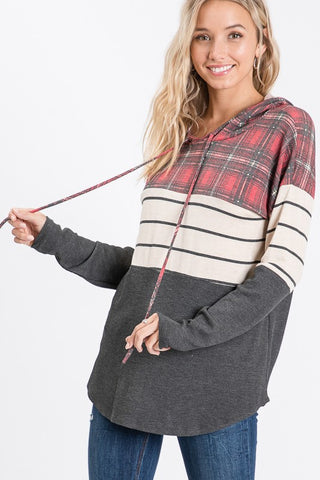Plaid and stripe color block hoodie - the Gloria