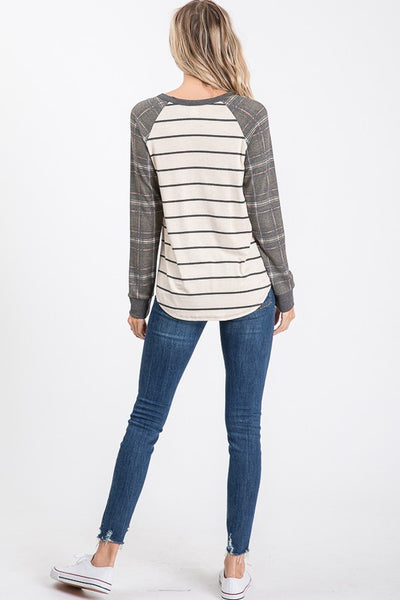 Olive green plaid Raglan with stripes top - the Gentry