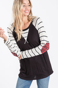 Stripe raglan long sleeve top with plaid elbow patches - the Holly