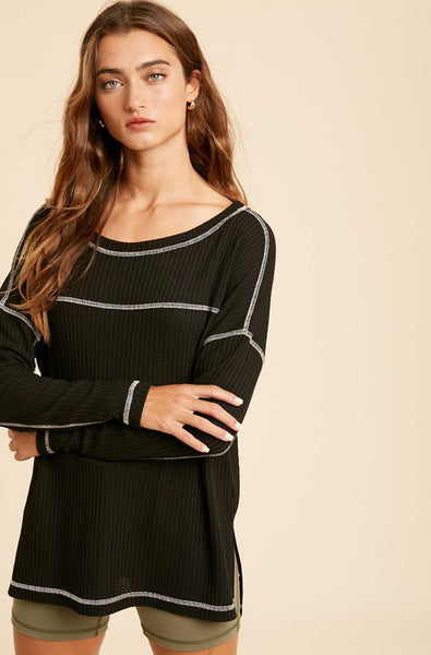 Black long sleeve waffle knit - the Brit