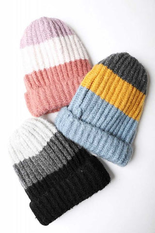 Color block knit beanie hat