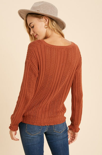 Rust Smocked v-neck knit sweater - the Clea