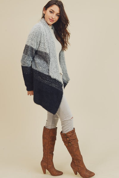 Ombre colorblock open cardigan gray and black - the Marcy
