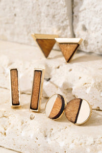 Geometric wood and metal stud earrings set of 3