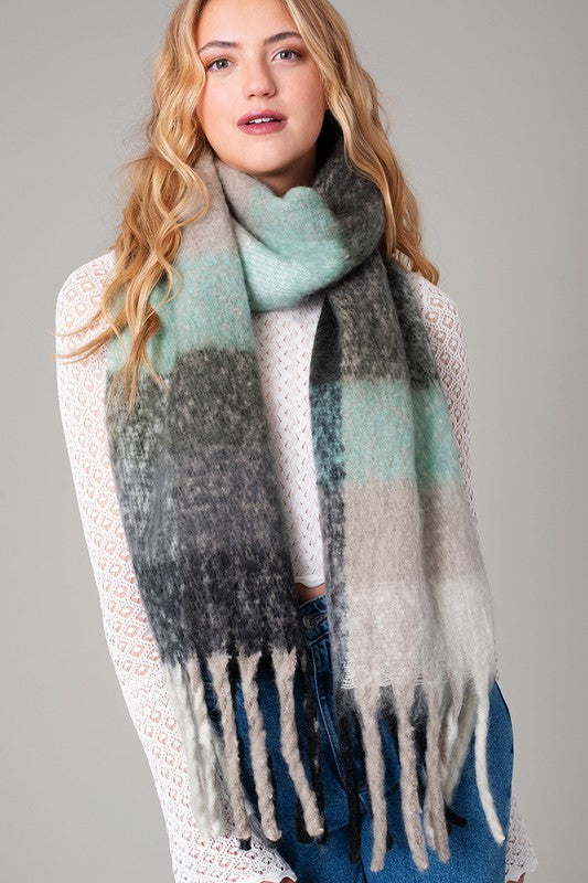 Black and Mint Stripe Scarf