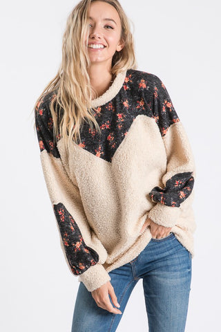 Furry and floral pullover - the Arden