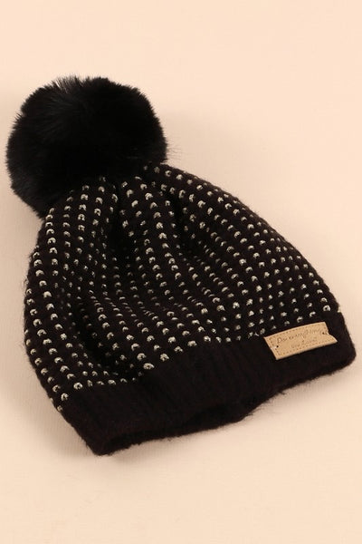 Sparkle Knit beanie hat - two colors