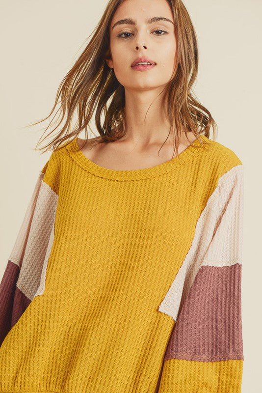 Color block waffle knit top - the Nikki