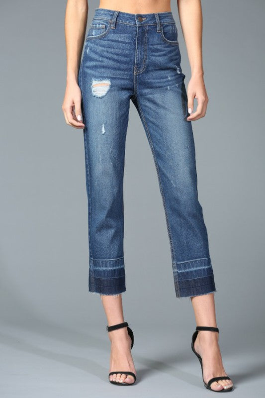 High Rise Straight leg jeans with two tone hem - the Luna denim