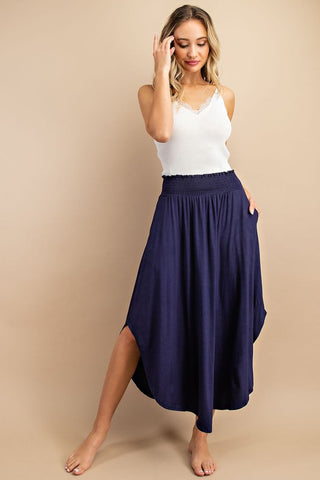 Navy Curved hem Maxi Skirt - Nadia