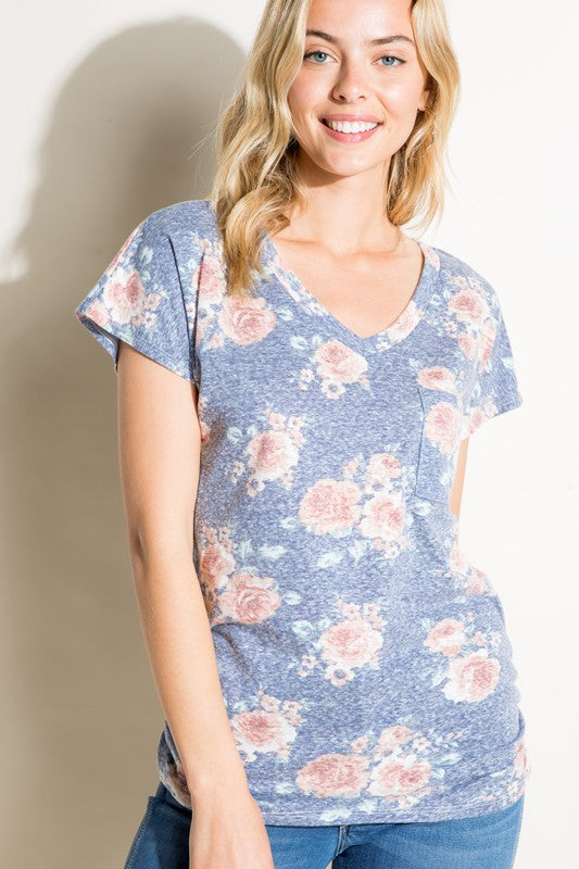 Floral v-neck with ruched sides - The Aria