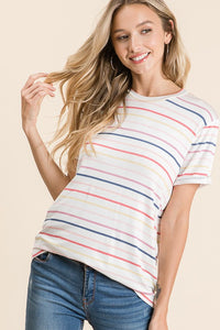 Colorful stripe short sleeve top - the Laney