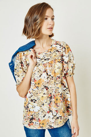 Fall floral with ruched neckline - the Cassia