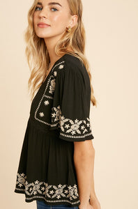 Simple Embroidered blouse in Rust or Black - the Betty