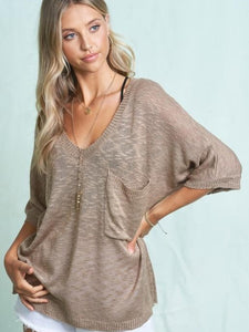 Lightweight mocha v-neck sweater - the Memphis