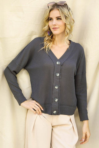 Button down, long sleeve waffle shirt - the Effie