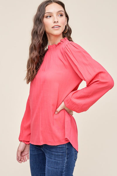 Punch Pink Ruffle neck long sleeve top - The Jane