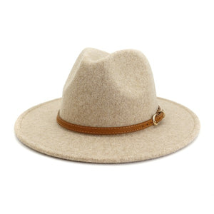 Simple leather belt Panama Hat