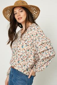 Spring Floral Ruffle sleeve blouse - the Josephine