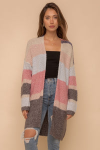 Super soft color block stripe open cardigan - the Skyler