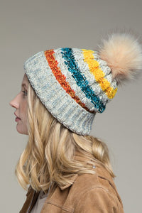 Multi color stripe knit pom pom beanie hat