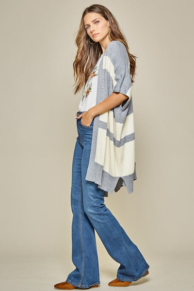 Short sleeve slouch color block kimono style cardigan - the Tessa