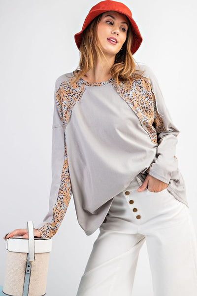 Long Sleeve top with animal print contrast - the Alex