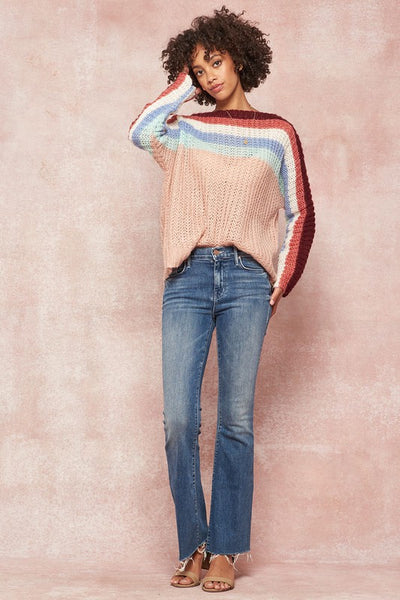 Colorful striped open knit sweater - the Whitney