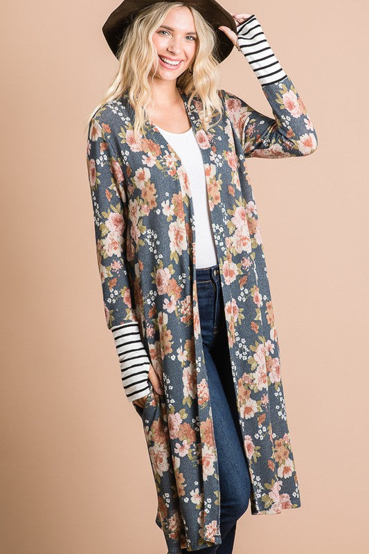 Navy floral maxi cardigan - the Harper