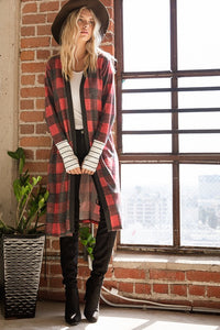 Red buffalo plaid long cardigan with stripes - the Taylor