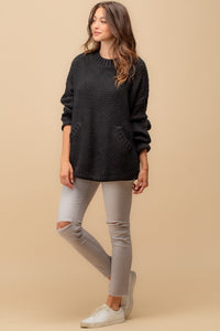 Black knit sweater with front pocket - the Rory