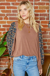 Floral sleeve long sleeve blouse - the Miller