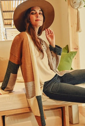 Color blocked open cardigan - the Juniper