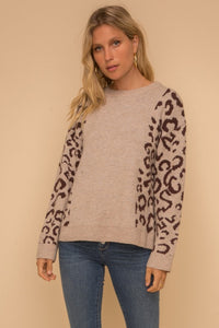 Leopard Sleeve pullover sweater - the Chloe
