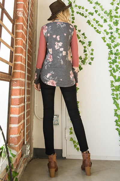 Floral cuff and contrast long sleeve top - the Sutton