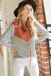 Color block cowl neck hacci top - the Greer