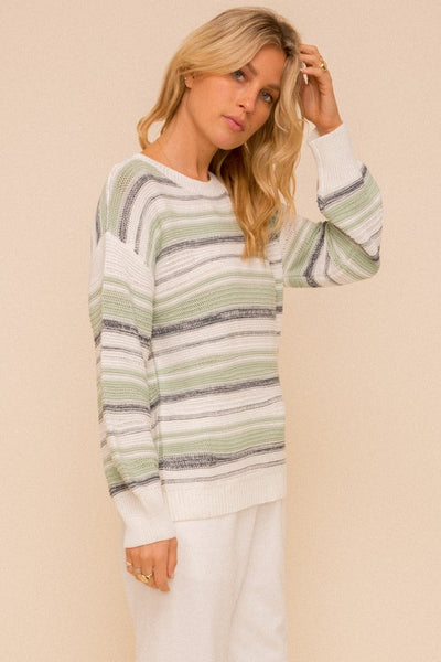 Stripe mint spring sweater - the Malia