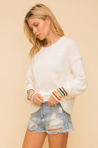 Rainbow stripe cuff lightweight sweater - the Rayna