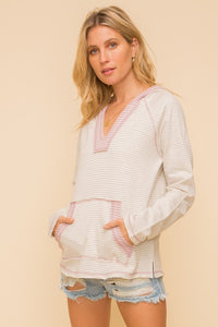 Spring stripe v-neck hoodie - the Indy