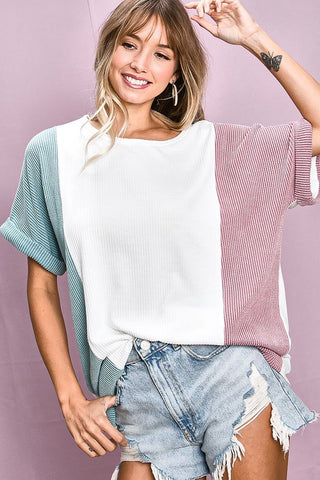 Color Block top in sage, mauve and white - the Presley