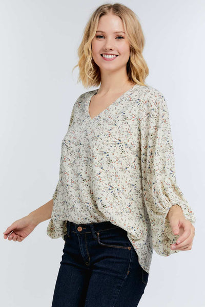 Floral print 3/4 bubble sleeve blouse - the Greta