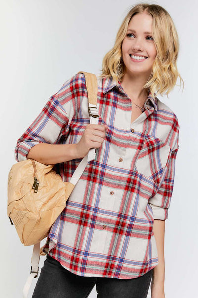 Red and blue plaid flannel - the Quinn