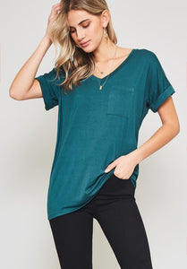 Dark Green Casual Boyfriend tee - the Evelyn