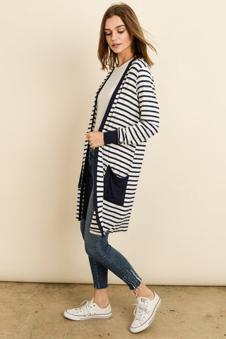 Lightweight black and white cardigan - the Haven