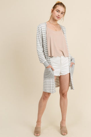 Lightweight gray and white cardigan - the Haven