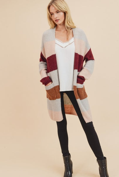 Striped fuzzy open cardigan with pockets - the Avery